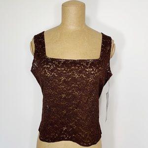 VINTAGE Anne Klein brown lace camisole tank top